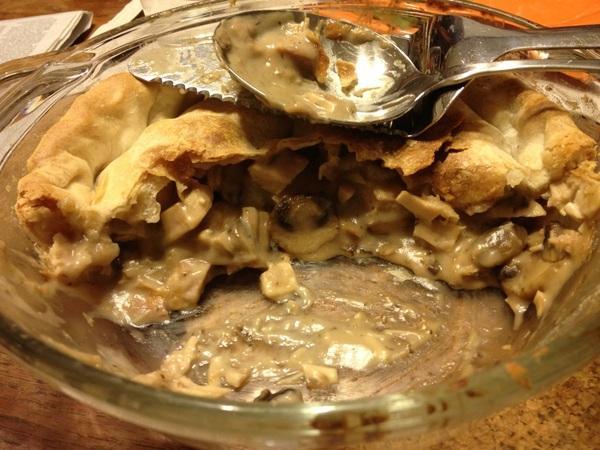 Weve reached the turkey and mushroom pie stage of thanksgiving now: 