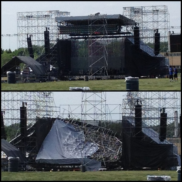 Before & after photo stage collaps prior #Radiohead #Toronto concert, 1 death, 3 wounded. v/ @zakeaa