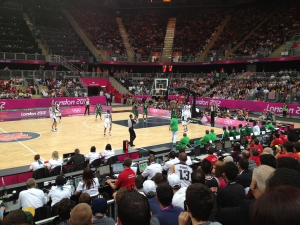 PIC: @KDTrey5 shooting (making) a 3 point shot in USA Bballs record breaking route. @JJ_lilhefe - TY for nice seats