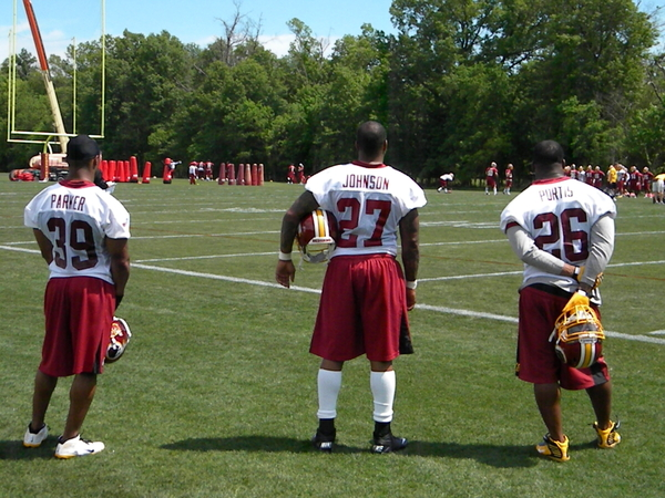 The three veteran RBs watch practice today.