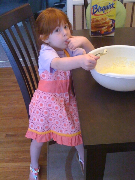 Daddy&#039;s personal chef for the day sneaking a taste