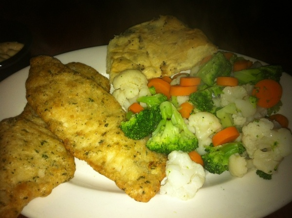 Herb crusted tilapia and steamed veggies for dinner.