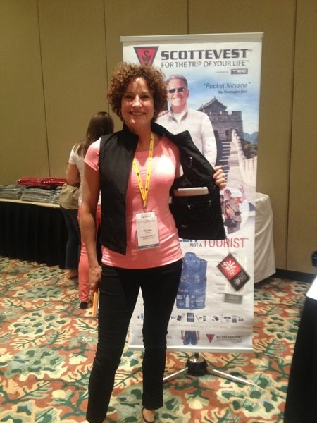 @denisefraser wearing her SCOTTEVEST st #tbex