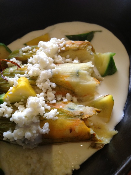 Red O, LA: Working w Chef Efren on new dishes for menu: squash blossom tamales w lime cream and farmers mkt calabacitas