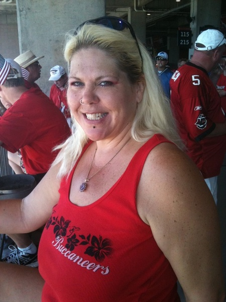@Kristine_Cumz looking hot! (literally) at the Bucs game #BucsNation #gobucs
