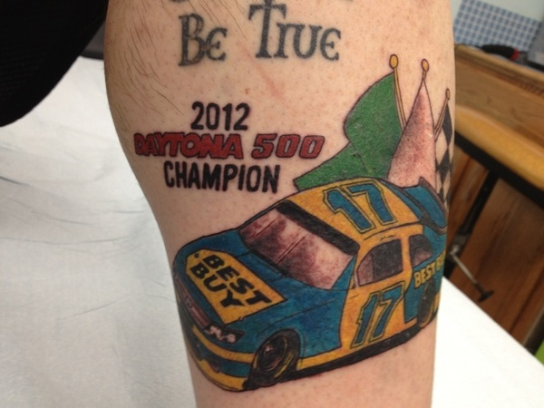 Tattoo: $300. Pain: Excruciating. Winning the Daytona 500 twice with Matt Kenseth: Priceless.