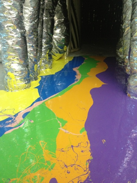 More mega drip floor painting at The Womb!!!