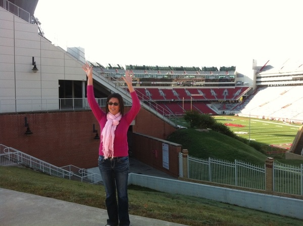 In order to allow  @LaurenK611 to do the Gator chomp at Razorback Stadium we made her first call the Hogs.