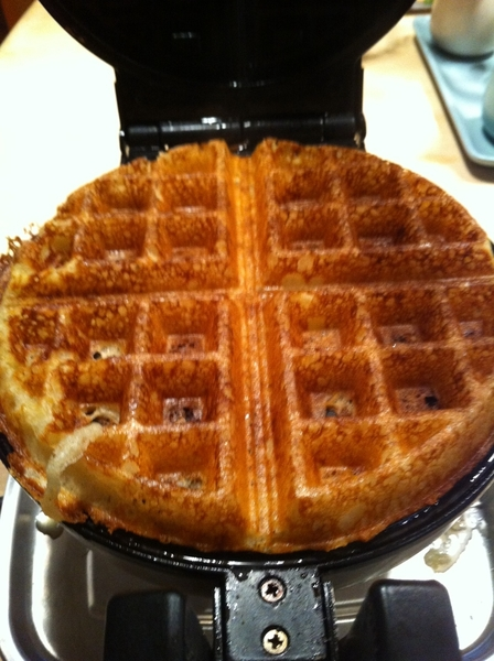 Making brunch for Steve Sando of Rancho Gordo Heirloom Beans: Iroquois white corn waffles, shagbark hickory syrup