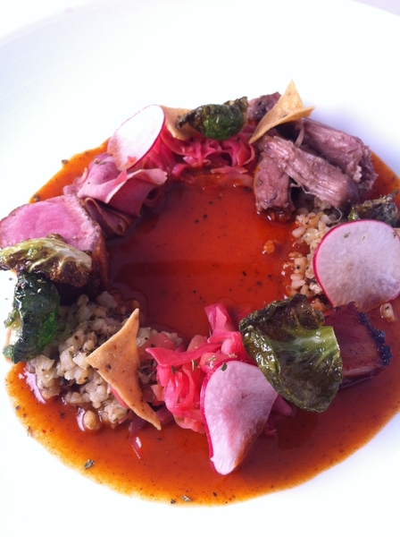 New Topolo Adventurers Menu starts today. 4th crs: sorghum pozole with Kilgus Farm goat 4 ways
