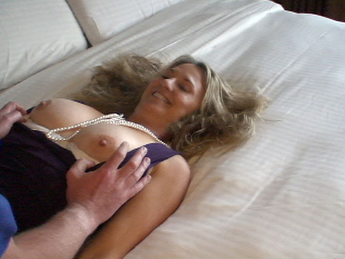 Strangers play with wife tits