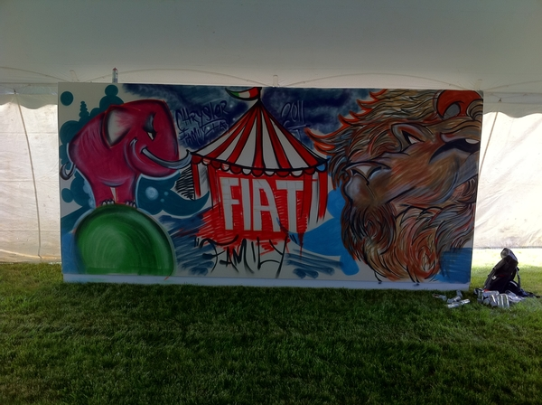 "@FIATUSA just finished the ""Circus"" mural at  @Chrysler fam day!!"