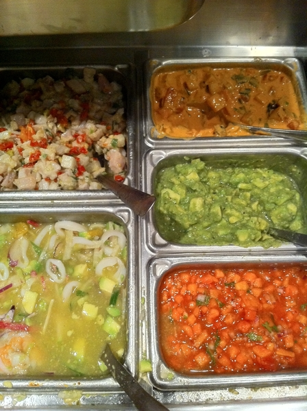Elfego&#039;s mise-en-place for dinner service: three ceviches and cured salmon with roasted peanut-arbol salsa