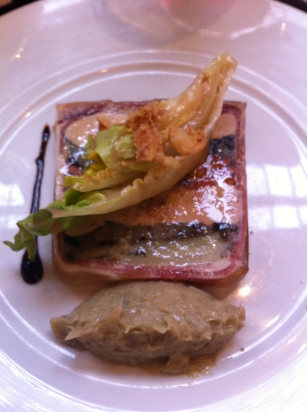 "Le Comptoir: stunning ""pressé"" of potatoes&foie gras. Artichoke purée. Food here is gutsy,full flavored, delicious"