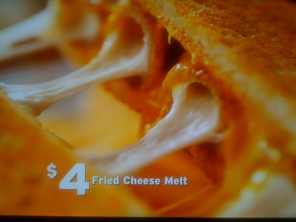 WHAT? Denny&#039;s Fried Cheese Melt: Fried Cheese sticks IN  grilled cheese sandwich. $4. I can feel my  arteries clogging.
