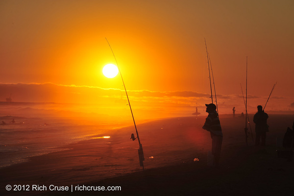 So many great photo-ops at the beach tonight! Here are surf fisherman @NewportBeach! @VisitCA