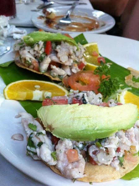 Marco Polo: wonderful ceviche tostadas paired with impressive vuelve a la vida coctel