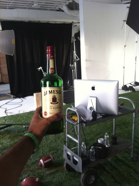 Celebrating st pattys on set with Jamison this is 1 cool client party time!