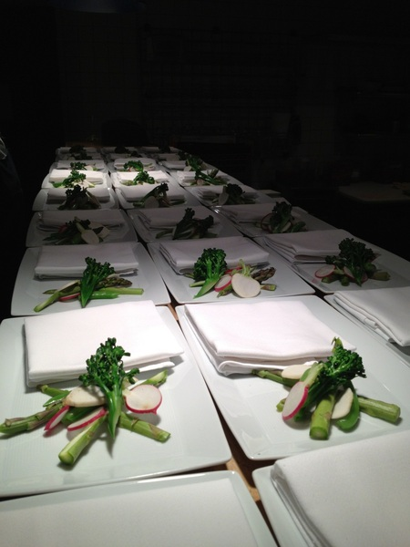 2nite&#039;s benefit dinner for FronteraFarmerFoundation: Alice Waters inspired veg w bagna cauda (bagna cauda not on plate)