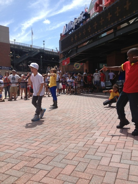 .@MattyBRaps performing in Fan Plaza for #UltimateKidsDay at Turner Field!