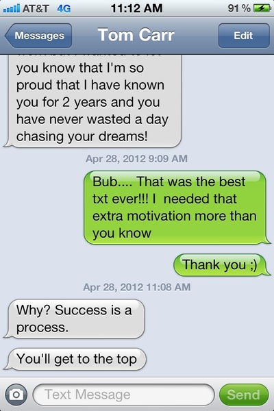 Crazy how friends can say something at the perfect moment without even knowing what you're thinking! Thanks @tcarr184