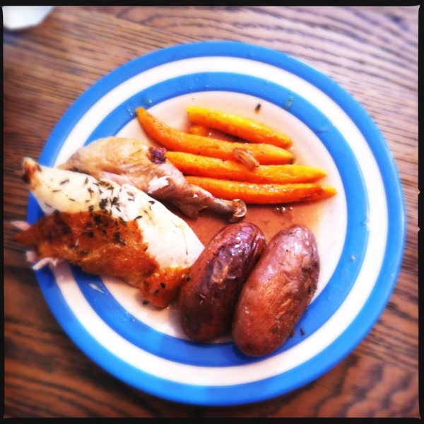 Dinner: whole roasted chicken with potatoes and carrots