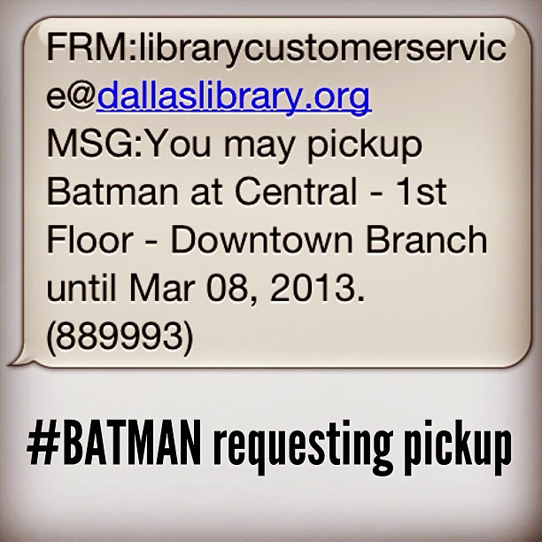 No big deal, just #BATMAN requesting pickup. LOL