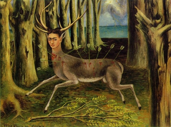 The aristocratic deer in Grayson Perry's last tapestry is very like Frida Kahlo's deer Kahlo didn't get name checked in the program http://www.artchive.com/artchive/k/kahlo/kahlo_deer.jpg.html #grayso
