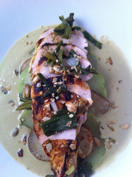 New Frontera Menu Highlight #5: grld chix, velvety pumpkinseed sauce, smoked potatoes, chayote.