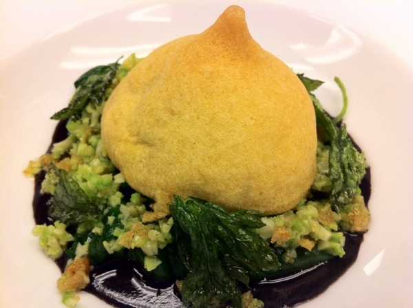 Tasting poss new dishes w Chef Brian Enyart 4 Topolo: chile relleno of hocks/pigs feet, bl bean sauce, c&#039;flower