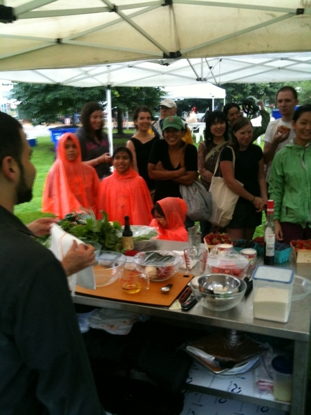 Crazy! About 50 folks have shown up for my rain drenched demo at Green City Market. Yea, Chicago!