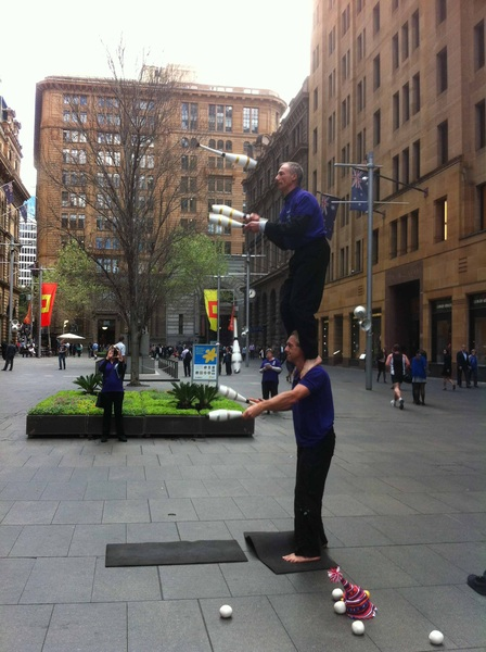 Today in Martin Place we had the amazing jugglers John and John #yourbrainmatters