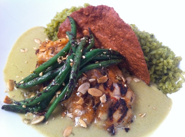 New Frontera menu: wood-grilled red fish, green pumpkinseed mole, grld gr beans pepita tostada, herb gr rice