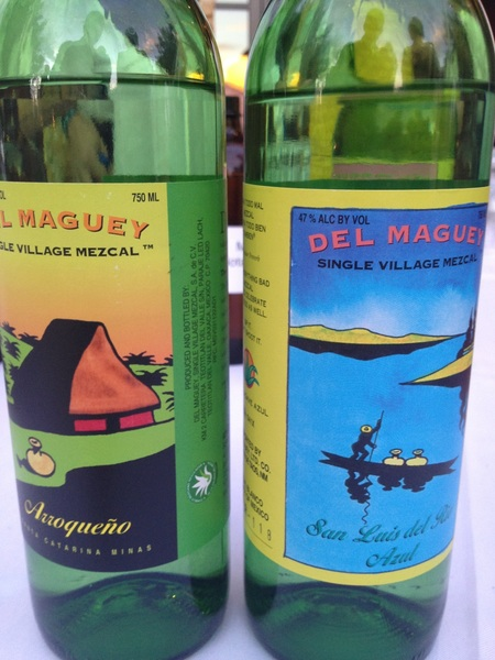 Best moment of day:tasting these 2 just-released mezcales w brilliant Ron Cooper: Oax blue agave made Mezcal style