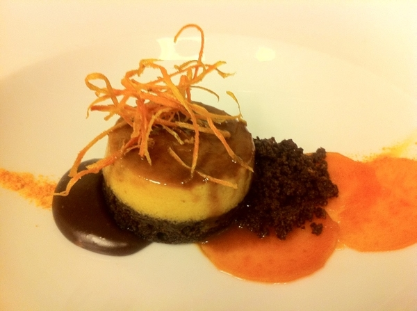 Possible new dessert for Topolo from Jen Jones: Chocoflan with candied&amp;crispy sw potato, caramel choc pool