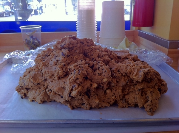 Ahhhh, a huge mound of cookie dough for Xoco's Mexican choc hazelnut cookies. Selling a couple hundred a day ...