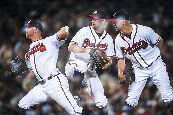 Photo of the Day by @bravesphoto:  Jonny Venters in motion.
