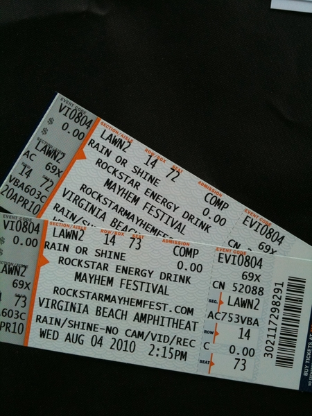 Mayhem Fest tix. Rob Zombie, Korn, Lamb of God go 2 next person at Audio Express (11201 Midlo)  who asks 4 &#039;em.