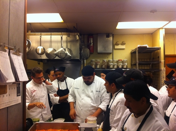 Tasting w slew of chefs for next Topolo menu: Heart & Soul of Baja. 1 dish combines oysters & pckld pigs feet =)
