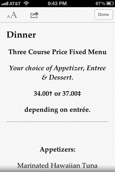 Tip:  iOS Safari + Reader + crappy restaurant menu website = Nice menu pages. Makes for a tasty read.