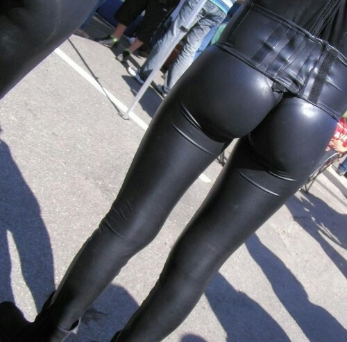 Sexy girls in tight leather pants very