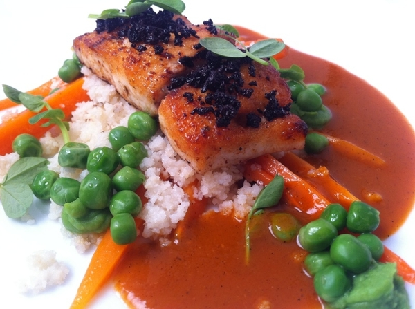"New Topolo tasting:3rd: Red Drum, Oax yellow mole, tamal ""couscous,"" carrots, peas, crunchy black olives"