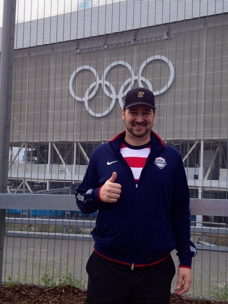 PIC: me decked out in USA gear + PH hat.  Taken today in Olympic Park, outside of swimming venue...Go MP Go!!