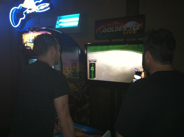 Golden tee rematch is on between me,  @DjInfernoLV and  @Aarongoodwin this time  @NickGroff_ is in the competition!