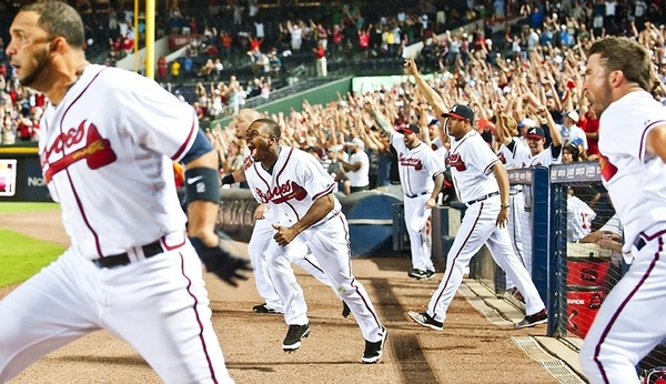 Photo of the day: Michael Bourn and the rest of the team celebrate Freddie Freeman's walk off hit last night.