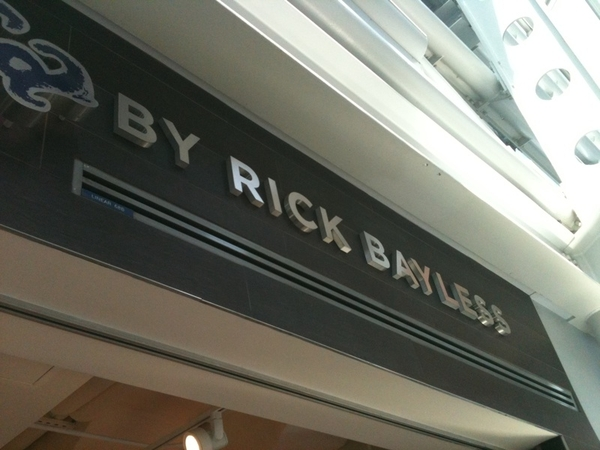 Getting food from @Rick_Bayless at ORD. Not him personally. His stainless steel name. #nevermayherust