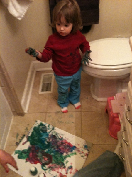 Crappy day out!  so we finger paint in bathroom ( all washable )