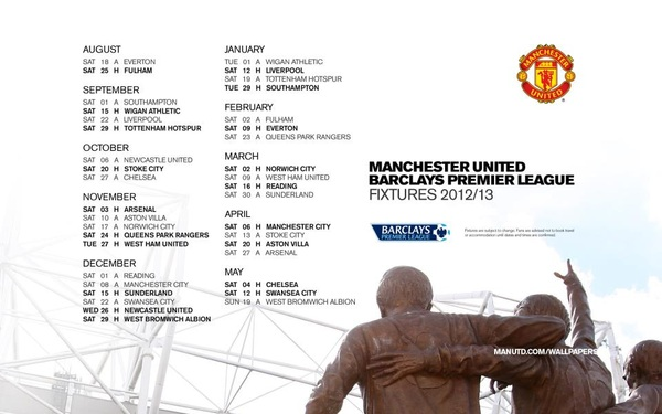  jadwal Manchester United .2012-2013 