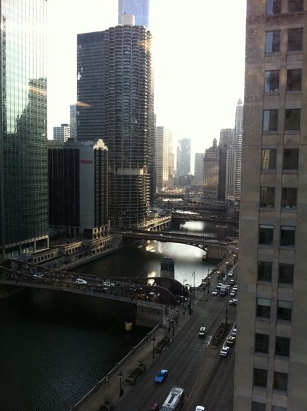 Visiting a friend's office this morning, I was greeted with this beautiful view of Chicago river. I love this town
