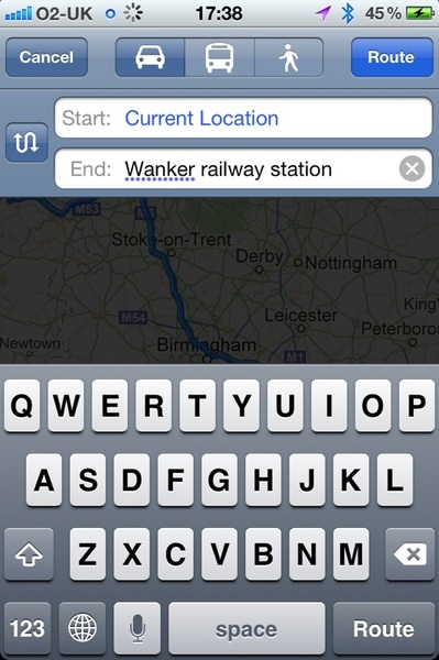 Tried to use Siri to get to Bangor railway station, this was the result, voice recognition really doesn't do Scottish
